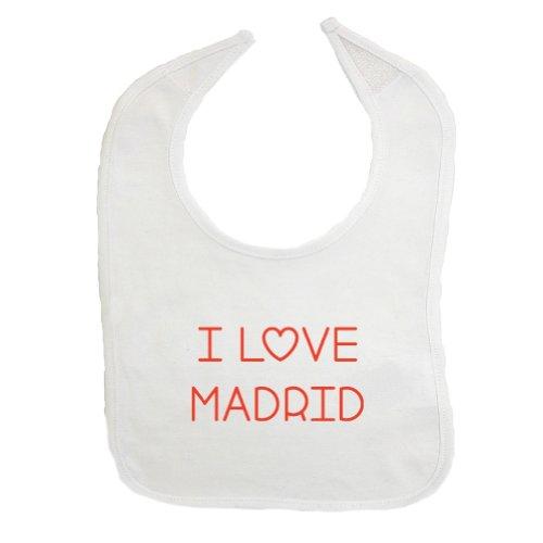 Mashed Clothing I Love Madrid Cotton Baby Bib (White)