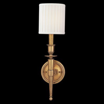 Abington 1-Light Wall Sconce - Aged Brass Finish with Off White Faux Silk Shade
