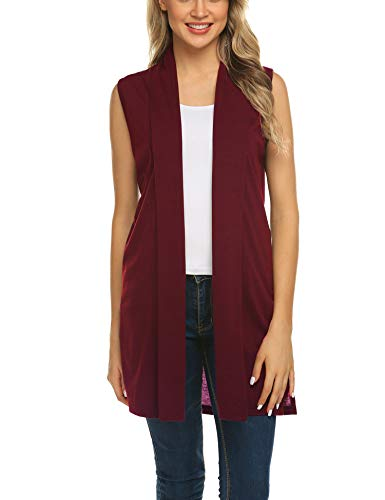 Beyove Women's Sleeveless Drape Open Front Drape Long Cardigan Vest Wine Red S
