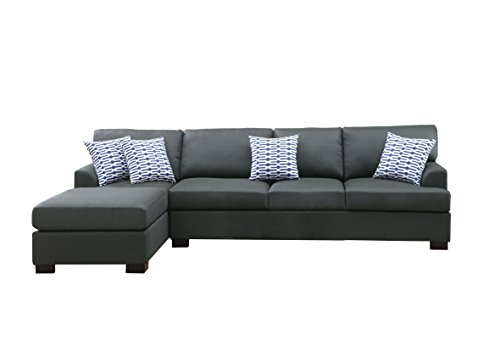 Poundex Bobkona Microfiber Reversible Sectional At A Glance