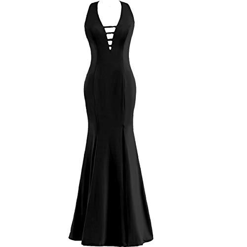 Lanxinbridal Women's Long Halter Jersey Formal Evening Dresses Backless Prom Party Gown Dresses 14 Black