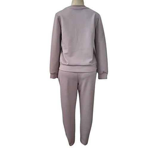 OverDose Las mujeres con capucha de la felpa de la bola de manga larga blusa camisa larga conjunto de pantalón Caqui