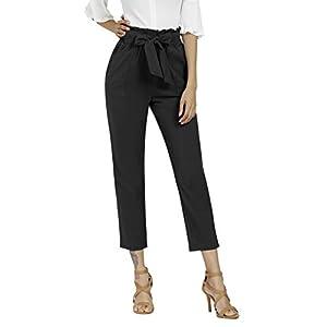 Freeprance Women's Pants Casual Trouser Paper Bag Pants Elastic Waist Slim Pockets 22