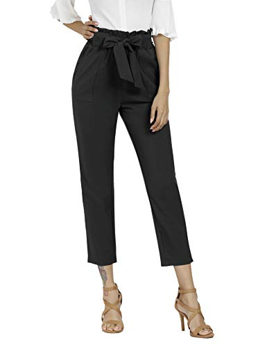Freeprance Women's Pants Casual Trouser Paper Bag Pants Elastic Waist Slim Pockets XBK_L Black