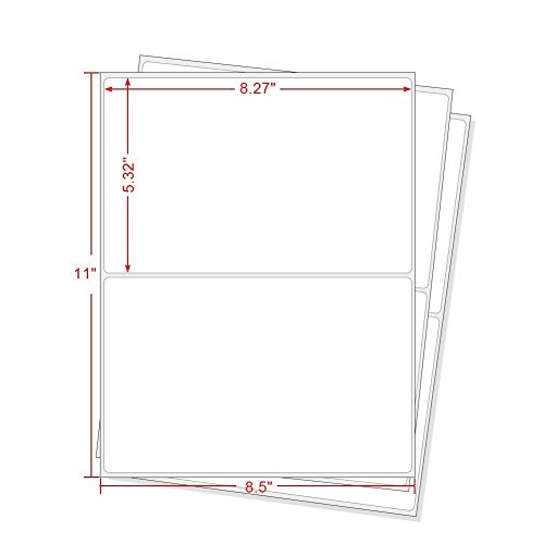 Half Sheet Labels - RBHK Half Sheet Self Adhesive Shipping Labels for Laser & Inkjet Printers, 200 Count, Rounded Corner