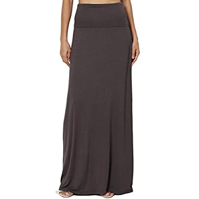 TheMogan S~3XL Women's Casual Lounge Solid Draped Jersey Relaxed Long Maxi Skirt at Women's Clothing store