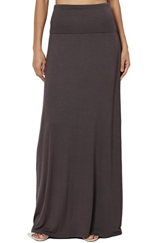 - TheMogan Women's Casual Solid Draped Jersey Relaxed Long Maxi Skirt Ash Grey L
