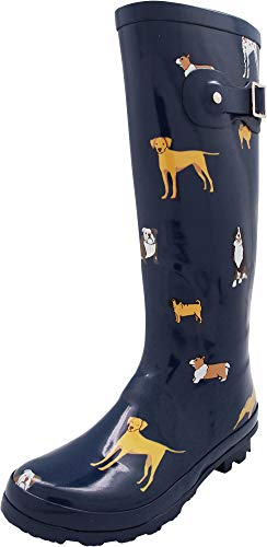 NORTY - Womens Hurricane Wellie Printed Look at Me Dog Hi-Calf Rain Boot, Blue 40714-8B(M) US (Rubber Boots Dog)
