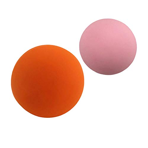 Massage Lacrosse Balls – Rubber Massage Balls for Deep Tissue,Trigger Point Therapy and Myofascial Release,Set of 2 Firm Balls (Orange and Strawberry)