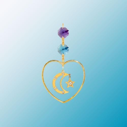 24K Gold Plated Hanging Sun Catcher or Ornament..... Moon & Star with Mixed Color Swarovski Austrian Crystal in a Heart ()