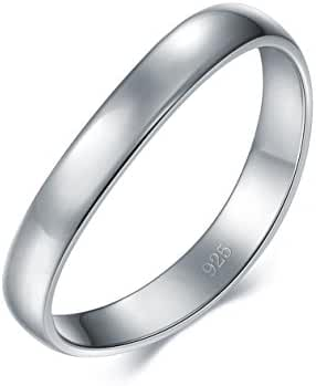 925 Sterling Silver Ring, BoRuo High Polish Plain Dome Tarnish Resistant Custom Fit Thumb Ring 3mm