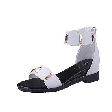 LvYuan Tacón Plano-Confort Mary Jane Suelas con luz-Sandalias-Exterior Vestido Informal-Semicuero-Negro Blanco Gris White