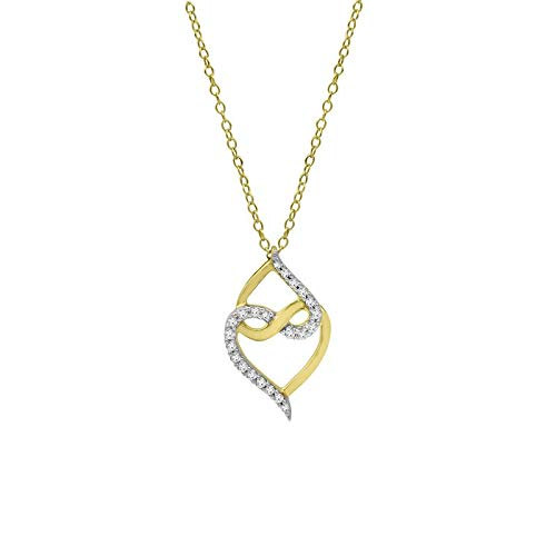 - Triss Jewelry 1/2 Cttw Diamonds IJ-I3 Full Cut Two Heart Pendant Necklace In Sterling Silver With Gold Plating For Women With 18 Inch Rope Chain.