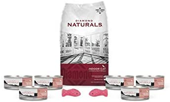Diamond Natural Dry Cat Food-6 Lb Bag and 6 Cans of Real Chicken Wet Pate 1 Can Topper 2 Cat Toys
