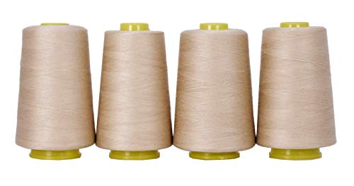 Mandala Crafts All Purpose Sewing Thread from Polyester for Serger, Overlock, Quilting, Sewing Machine (4 Cones 6000 Yards Each, Tan)