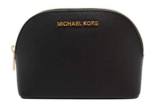 Michael Kors Women's Jet Set Travel Large Leather Pouch Cosmetic Bag - Black (Michael Kors Cosmetic Bag)