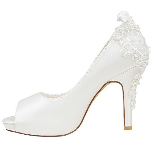 Soie Hauts Ivoire sur Talons Détail en Beige Peep Chaussures Emily de Mariage Bridal Toe Pompes à Les Glisser Perles ZYAwqZz5Hg