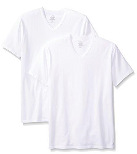 Calvin Klein Men's 2 Pack Cotton Stretch V-Neck T-Shirt, White, Medium