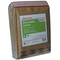 Office Depot Bubble Wrap (Office Depot Heavy-Duty Bubble Mailer, CD/DVD, 7in. x 9 1/2in, 100% Recycled, Pack Of 12, 31055-OD)