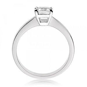 Diamond Manufacturers - Bague de fiancailles avec diamant Émeraude Femme - Or blanc 750/1000 (18 cts) - Diamant 0.25 ct