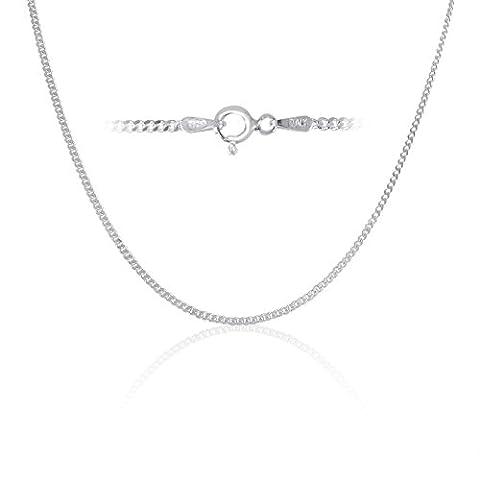 Sterling Silver Thin Cuban Curb Link Chain Necklace 1.8mm 22 inch - Sterling Silver Cuban Link Chain