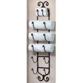 Iron Towel & Wine Wall Rack Black
