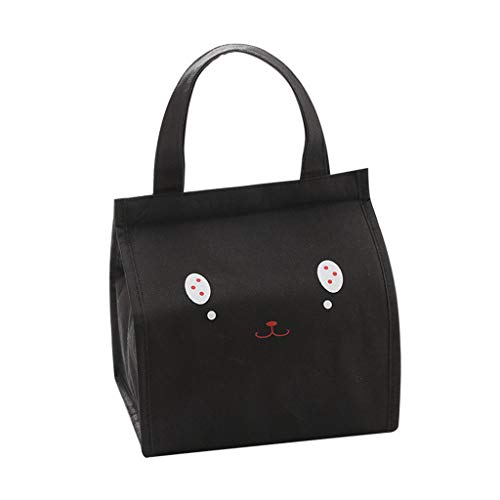 JDgoods Cartoon Cute Cat Expression Lunch Box Insulated Lunch Bag - Portable Waterproof Oxford Cloth Insulated Cold Bag Picnic Tote Storage Bag Lunchbox for Women Kids (Black) ()