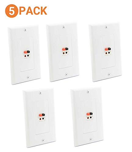 diyTech Premium Speaker Wall Plate - Spring Loaded Speaker Wire Wall Plates, for Home Theater Wall Speakers - White (5 Pack)