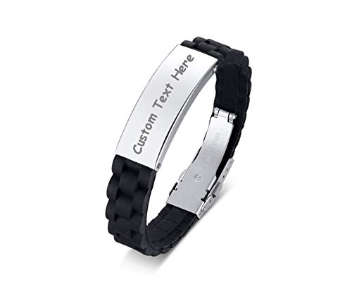 Personalized Custom Black Cool Silicone Watch Band Outdoor Sport ID Wristband Bracelets Bangle for Boy,Adjustable(Silver)