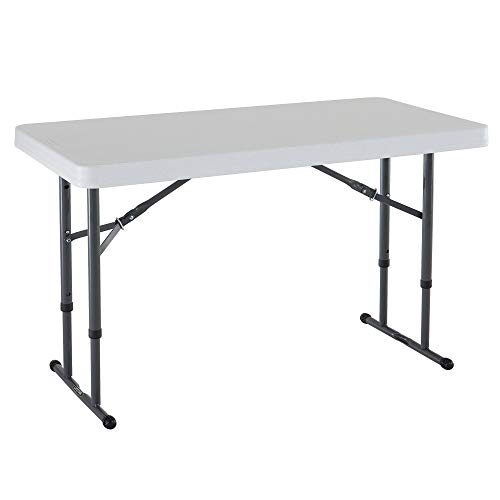 Lifetime 80160 Commercial Height Adjustable Folding Utility Table, 4 Feet, White Granite (Renewed)