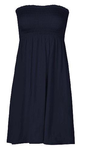 Plaine Top Boobtube Sheering Femme Bleu Evase Elastique Fast Fashion EOqFxp