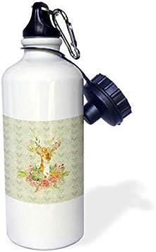 GFGKKGJFD612 - Botella de Agua de Aluminio Decorada con Flores y Hojas, diseño de Animales, Color Blanco