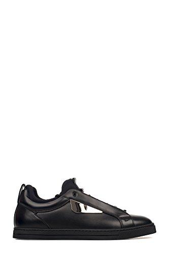 FENDI MEN'S 7E1021SNYF0ABB BLACK LEATHER SNEAKERS (Fendi Mens Sneakers)