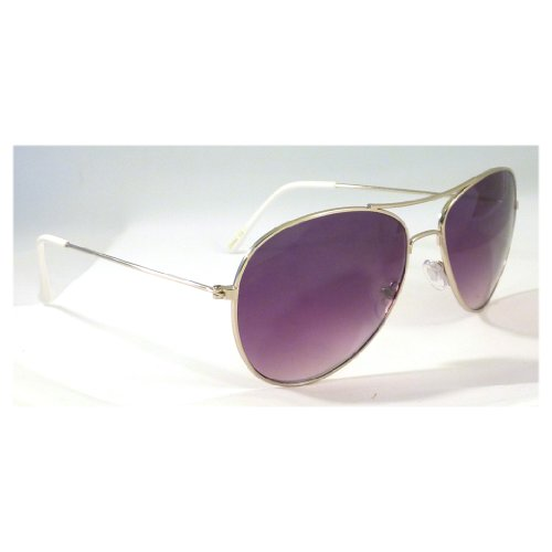 AIR FORCE Aviator Retro Pilot Silver Metal Shades Sunglasses - Tom Cruise Shades Aviator