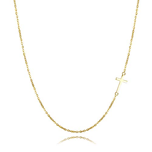 EVER FAITH 925 Sterling Silver Simple Classic Religious Small Sideways Cross Choker Necklace for Women, Girl Gold-Tone Date Gold Tone Necklace