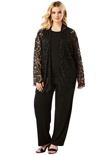 Roamans Womens Pant Suit - Roamans Women's Plus Size 3-Piece Pant Set Lace Jacket - Black, 28 W