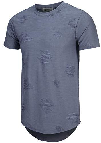 KLIEGOU Mens Hipster Hip Hop Ripped Round Hemline Hole T Shirt (1705)(Medium Navy Blue)