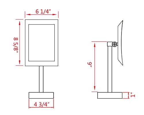 GuRun 8 inch Rectangle Tabletop LED Lighted Makeup Mirror Vanity Mirror with 3x Magnification,Chrome Finish M2239D(8in,3) by GURUN (Image #3)
