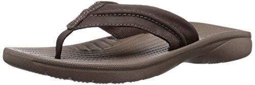 crocs Men's Yukon Mesa M Flip Flop, Espresso/Walnut, 9 M US - Genuine Leather Croc