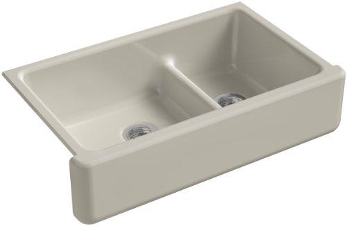 KOHLER K-6427-G9 Whitehaven Smart Divide Self-Trimming Under-Mount Apron-Front Double-Bowl Kitchen Sink with Tall Apron, 35-1/2-Inch X 21-9/16-Inch X 9-5/8-Inch, Sandbar ()