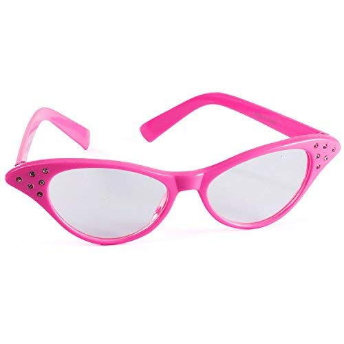 Funny Party Hats Cat Eye Glasses – 50's & 60's Glasses – Pink Costume Glasses – Pink Ladies – Grease Costume – Retro Costume Glasses ()