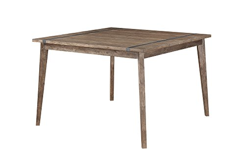 Emerald Home Viewpoint Driftwood Gray Gathering Height Dining Table with Self Storing Butterfly Extension Leaf And Metal Detailing