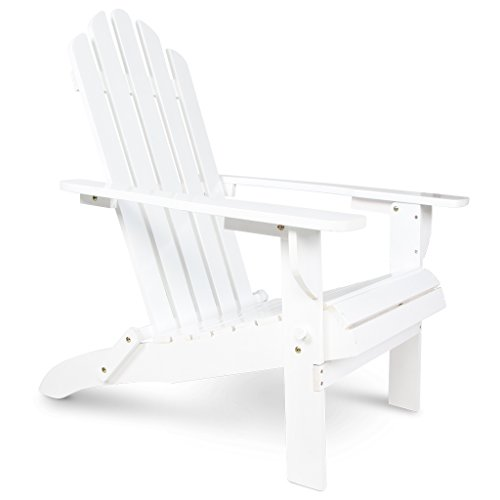 Wooden Patio Adirondack Chair Fan Back Design With White Painting For Outdoor (Chairs Stacking Adirondack)