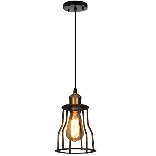 SOUTHPO Vintage Pendant Lighting Creative Metal Pendant Lamp Retro Industrial Edison Adjustable Hanging Lights Cage Shade Mini Loft Decor Chandeliers for Dining Rooms 1×E26 MAX40W Ø5.91 inch Black