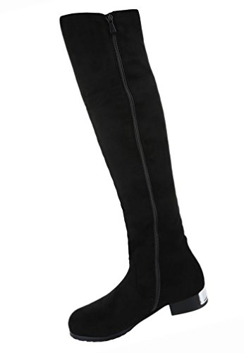 Damen Schuhe Overknee Stiefel Strass Besetzte Schwarz Schwarz