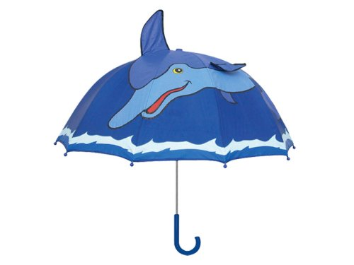Kidorable Blue Dolphin Umbrella With Fun Pop-Out Fin and Ocean Trim One Size