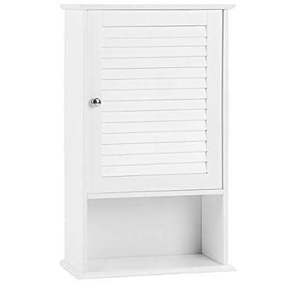 Tangkula Medicine Cabinet, Wall Mounted Bathroom Cabinet Single Door Wooden Bathroom Wall Cabinet with Adjustable Shelf