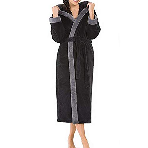 Women Night Gown Women's Winter HoodedLengthened Long Sleeved Plush Shawl Solid Bathrobe Sleepwear (balck4XL) (Fence Net Leg Warmers)