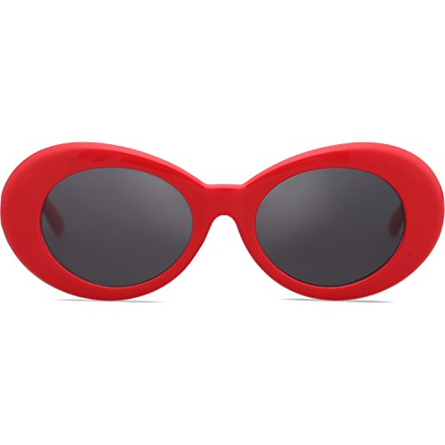 SOJOS Clout Goggles Oval Mod Retro Vintage Kurt Cobain Inspired Sunglasses Round Lens SJ2039 with Red Frame/Grey Lens (Red Glasses Glitter)