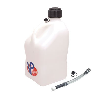 VP Racing Square Utility Jug with Deluxe Jug Tube 5 Gallons (White)